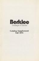 1974-1975 : Berklee College of Music - Catalog Supplement - Fall 1974